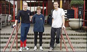 Steve Wehrle (left) with two of his BBC Running Club proteges